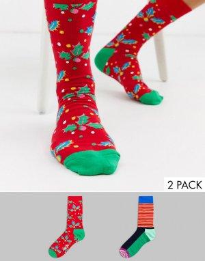Набор из 2 пар носков в подарочной упаковке -Мульти Happy Socks