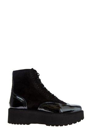 Ботинки из замши с деталями лаковой кожи и брогированием HOGAN. Цвет: черный