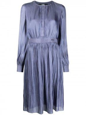 Переливающееся платье с плиссировкой Karl Lagerfeld. Цвет: синий
