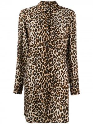 Платье-рубашка с леопардовым принтом Equipment. Цвет: нейтральные цвета