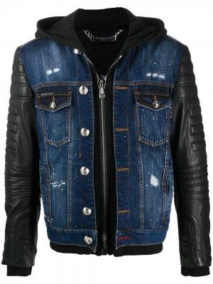 Джинсовая куртка с кожаными вставками Philipp Plein. Цвет: черный