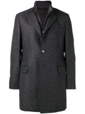 Пальто со вшитым жилетом Fay. Цвет: серый