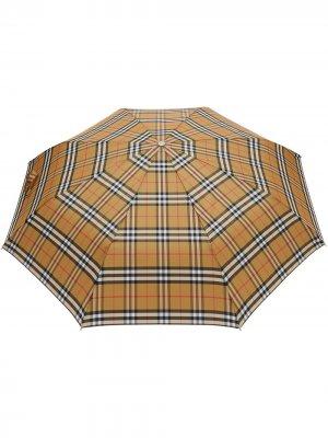 Складной зонт в клетку Vintage Check Burberry. Цвет: коричневый