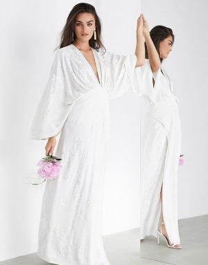 Свадебное платье в стиле кимоно с вышивкой -Белый ASOS EDITION