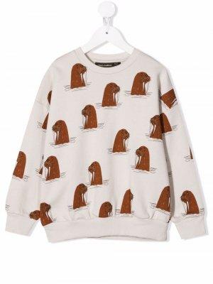 Walrus-print organic cotton sweatshirt Mini Rodini. Цвет: серый