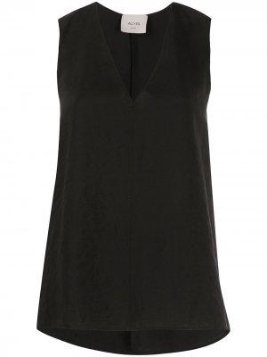 Блузка без рукавов с жатым эффектом Alysi. Цвет: черный