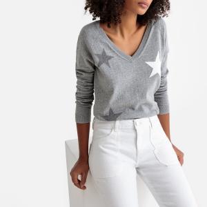 Пуловер с V-образным вырезом и рисунком звезды из тонкого трикотажа SUD EXPRESS. Цвет: серый меланж
