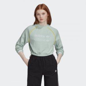 Укороченный свитшот Originals adidas. Цвет: зеленый