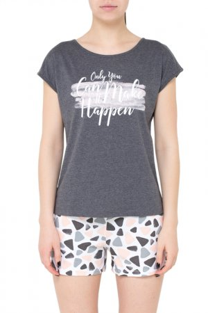 Комплект: футболка, шорты Trikozza. Цвет: темно-серый меланж, акварельны