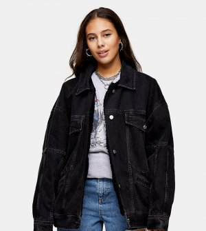 Черная джинсовая oversize-куртка в винтажном стиле с искусственным мехом -Черный цвет Topshop Petite