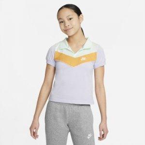 Рубашка-поло для девочек школьного возраста Sportswear Heritage - Пурпурный Nike