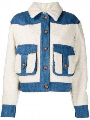 Джинсовая куртка со вставками из шерпы Jacob Cohen. Цвет: белый