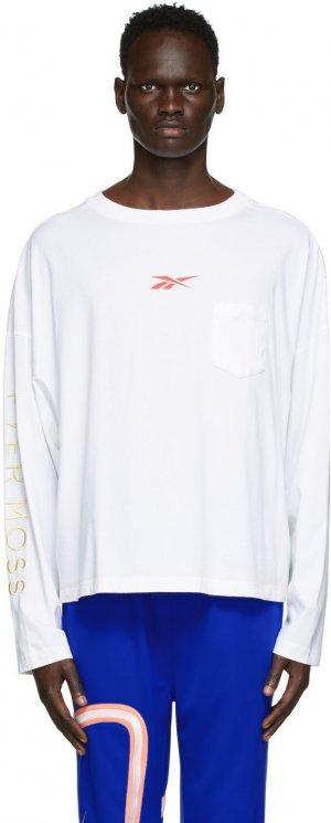 White Pocket Long Sleeve T-Shirt Reebok by Pyer Moss. Цвет: white