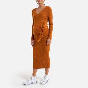 Платье-пуловер La Redoute. Цвет: каштановый