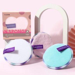 3шт Спонж-пуховка для снятия макияжа SHEIN. Цвет: многоцветный