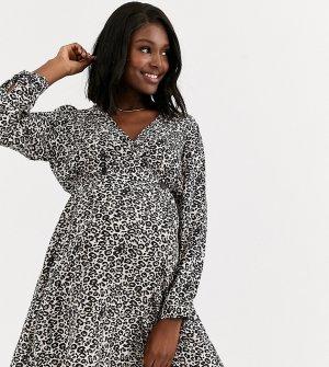 Повседневное платье мини с запахом и леопардовым принтом ASOS DESIGN Maternity-Мульти Maternity