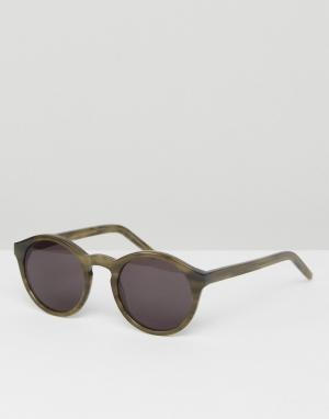 Солнцезащитные очки в круглой зеленой оправе Barstow Monokel Eyewear. Цвет: зеленый