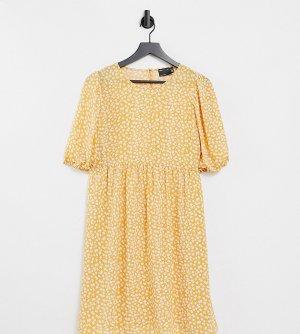 Горчичное платье мини с присборенной юбкой, короткими рукавами и цветочным принтом ASOS DESIGN Maternity-Многоцветный Maternity