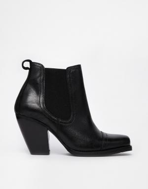 Кожаные ботинки челси на каблуке Gardenia. Цвет: buffalino black