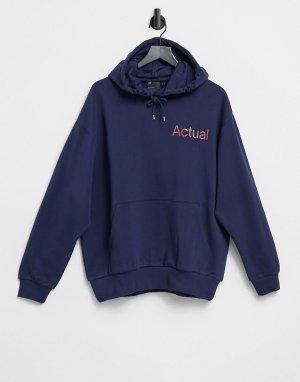 Темно-серый oversized-худи с принтом логотипа -Темно-синий ASOS Actual