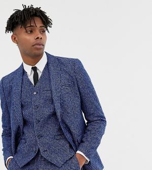 Синий приталенный пиджак с узором гусиная лапка Heart & Dagger
