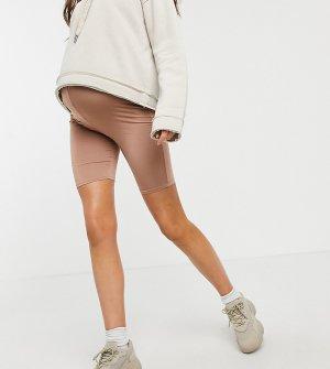 Серо-коричневые облегающие шорты-леггинсы Flounce Maternity-Нейтральный London Maternity