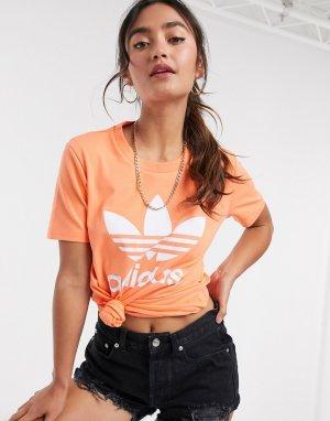 Коралловая футболка с большим логотипом -Оранжевый adidas Originals