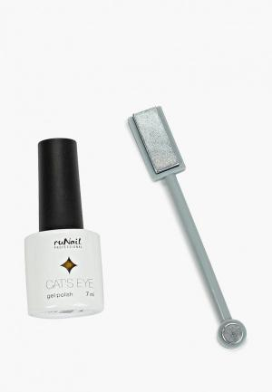 Набор для ухода за ногтями Runail Professional магнит и Гель-лак Cat's eye (золотистый блик, цвет: Золотистая кошка). Цвет: золотой