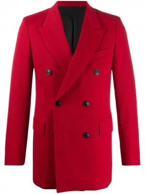 Двубортный пиджак AMI Paris. Цвет: красный