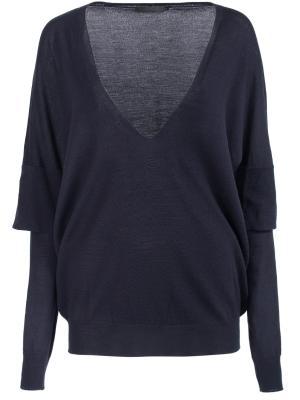 Шерстяной пуловер Les Copains. Цвет: синий