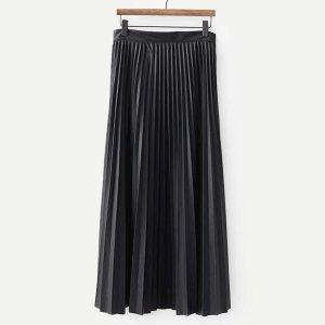 Однотонная плиссированная кожаная юбка SHEIN. Цвет: чёрный