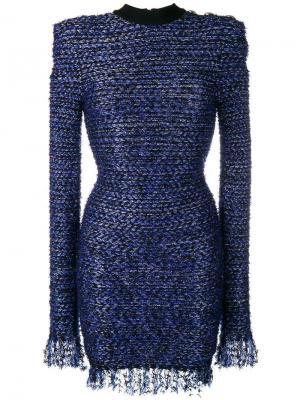 Твидовое платье мини с бахромой Balmain. Цвет: синий
