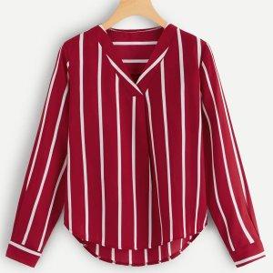 Большая полосатая блуза SHEIN. Цвет: красный