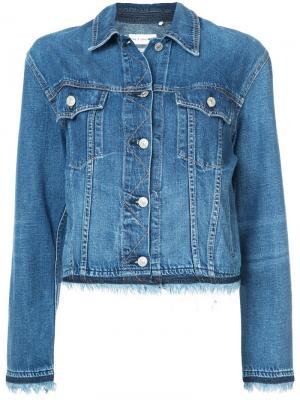 Fringed trim denim jacket Rag & Bone. Цвет: синий