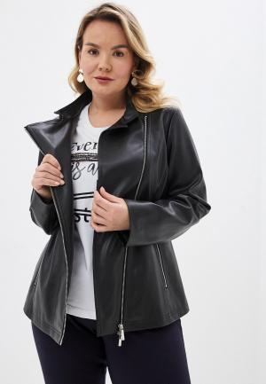 Куртка кожаная Persona by Marina Rinaldi CALA. Цвет: черный