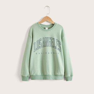 Для мальчиков Пуловер с текстовым принтом SHEIN. Цвет: мятно-зеленый