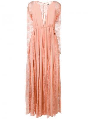 Удлиненное платье с кружевными вставками Aniye By. Цвет: розовый