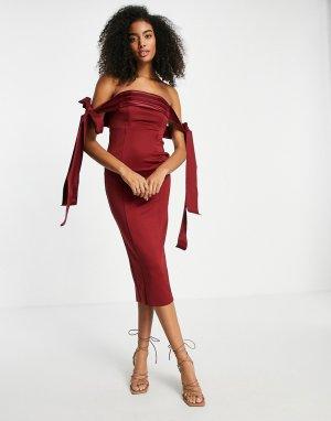 Темно-бордовое атласное платье-футляр миди с завязкой, открытыми плечами и декоративными швами -Красный ASOS DESIGN