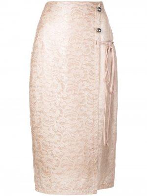 Кружевная юбка с эффектом ламинирования Yigal Azrouel. Цвет: розовый