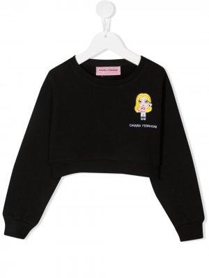 Толстовка с вышитым логотипом Chiara Ferragni Kids. Цвет: черный