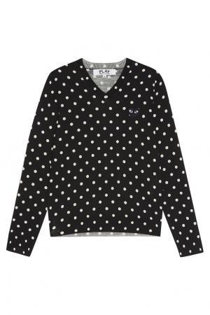 Шерстяной пуловер в горох черный Comme des Garçons PLAY. Цвет: черный