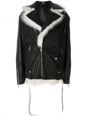 Oversized biker jacket Saint Laurent. Цвет: чёрный