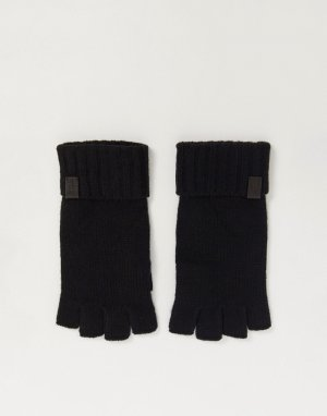 Черные перчатки без пальцев в рубчик -Черный цвет AllSaints