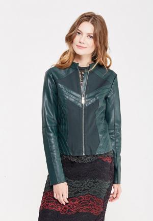 Куртка кожаная Silvian Heach. Цвет: зеленый