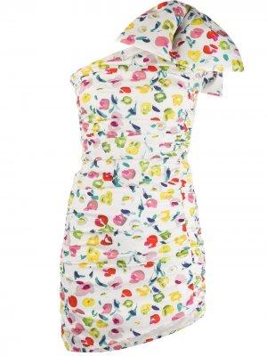 Платье мини на одно плечо с цветочным принтом Amen. Цвет: белый