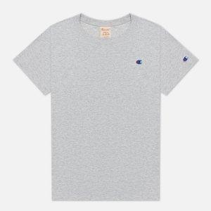 Женская футболка Embroidered C Logo Chest And Sleeve Champion Reverse Weave. Цвет: серый