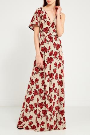 Платье-макси с цветами Chapurin. Цвет: красный