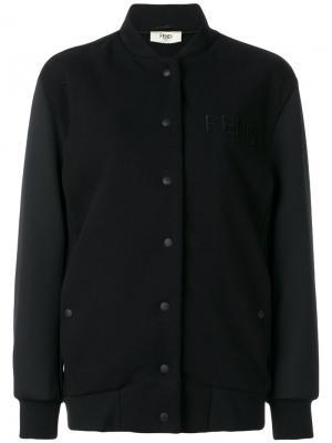 Бомбер с вышитым логотипом Fendi. Цвет: чёрный