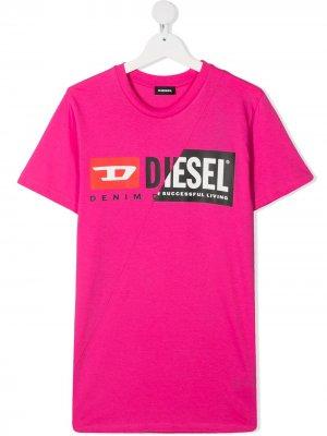Футболка с логотипом Diesel Kids. Цвет: розовый