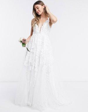 Сетчатое свадебное платье с цветочной вышивкой -Белый ASOS EDITION